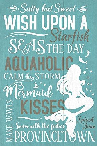 Provincetown, Cape Cod, Massachusetts - Mermaid Typography (12x18 Art Print, Wall Decor Travel Poster) (Cod Canvas Cape)
