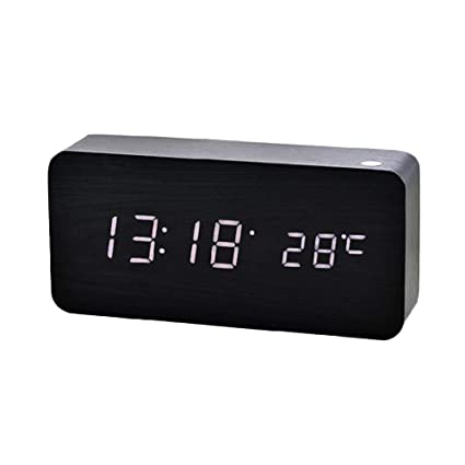 HEIRAO Nuevo Reloj Digital de Madera LED Creativo, Reloj Despertador electrónico de Madera, Reloj