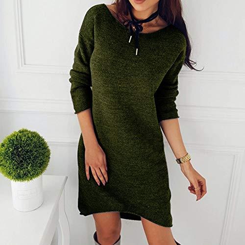 Larga Punto Vestido Suéter Prendas Camisa Junmy Color Manga Cuello Pullovers Sólido De Y Mujer Jersey Con Redondo En Verde xqpAx5tXw