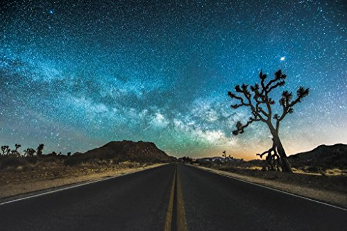 (JT Road Joshua Tree National Park Starry Sky Photo Art Print Poster 36x24)