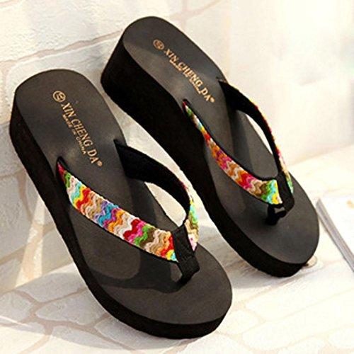 Damen Sommer Schuhe Xinan Plattform Strand Patch Flip Flops Schwarz