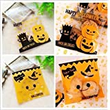Ruisilite 50PCS Halloween Candy Bags Drawstring Kids Trick or Treat Bags 3.9*3.9inch/10*10cm Random Color