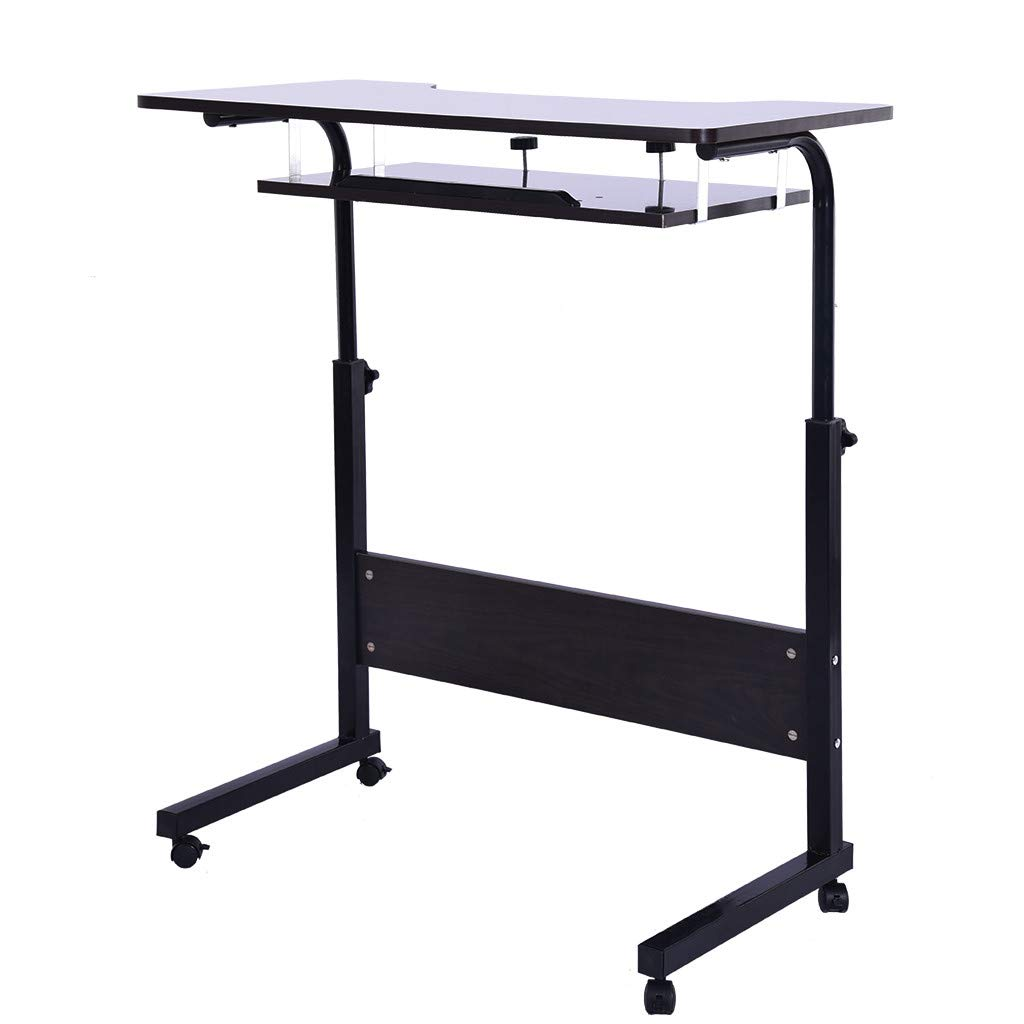 ♔MiaoC Home Office Computer Desk with Side Shelf and Keyboard Panel Stand up Desk Computer Laptop, Reading Workstation 80x40x70-90CM