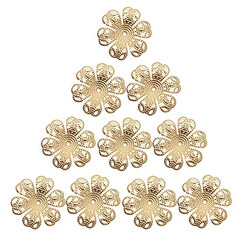 (Homyl 100 Pieces Beautiful Filigree Iron Plated Bead Caps, Filigree Bead Caps Flower Bead Caps, 24mm Dia, Necklace Cord End Caps Tassel Crimp End Connector DIY Jewelry Findings - gold)