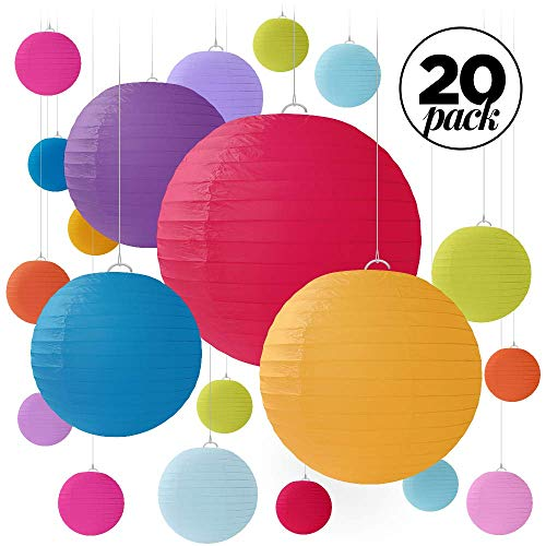 20 Colorful Round Paper Lanterns for Weddings, Birthdays, Parties and Events - Assorted Sizes of 6