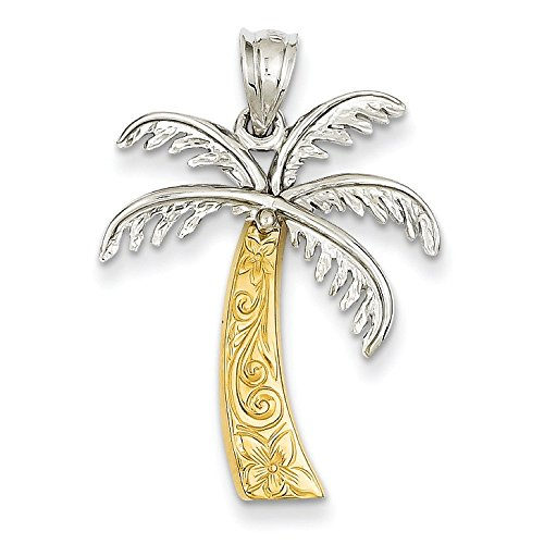 14 carats-Bicolore-Pendentif Palmier JewelryWeb