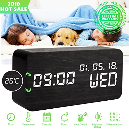 Alarm Clock,Wood Alarm Clock Digital Clock LED Small Desk Clock Voice Command Beside Wooden Clock Modern Decoration Mini Alarm Clocks 3 Alarms 3 Level Brightness Show Time Date Week Temperature-Black - Wood Mini Clock