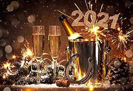 Zhy 7X5FT 2020 Happy New Year Background Blue Snow Night Glitter Spots Photography Backdrop New Year Events Decor Props DSST241