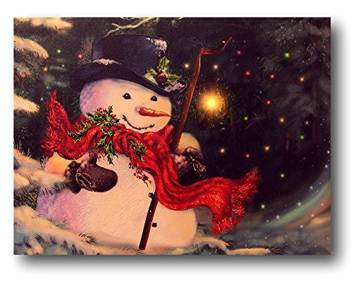 BANBERRY DESIGNS Light Up Snowman Picture - LED Christmas Canvas Print - Snowmen Wall Hanging with a Black Top Hat and a Red Scarf - Winter Scene]()