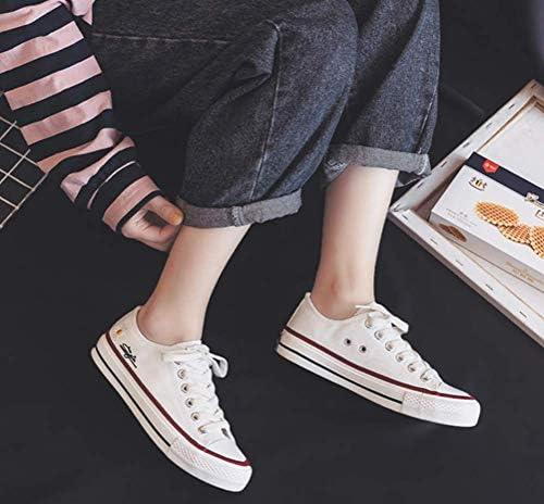 UMOOIN Femmes Toile Chaussures Printemps Fille Chaussures Casual Chic Ins Style Daisy Broderie de Fleurs Tendances de la Mode à Lacets Baskets Sneakers,White Low,39