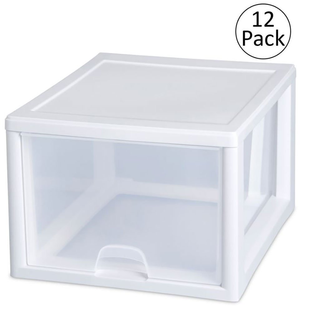 Sterilite 2310 27-Quart Single Stacking Drawer - Clear (12 Pack)