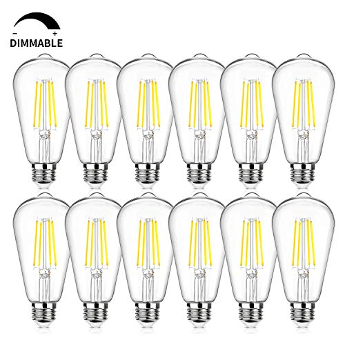 12Packs Vintage LED Edison Bulbs, 60W Equivalent 7W, 800Lumens, Dimmable ST64 Antique LED Filament, Daylight White 5000K…