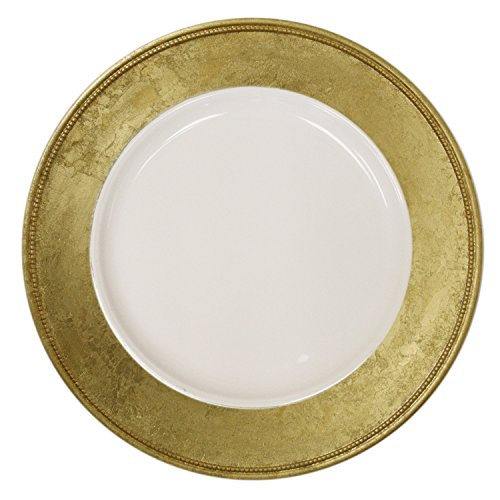 - ChargeIt by Jay A466GRK-4 Leaf Rim Charger Plate, Gold