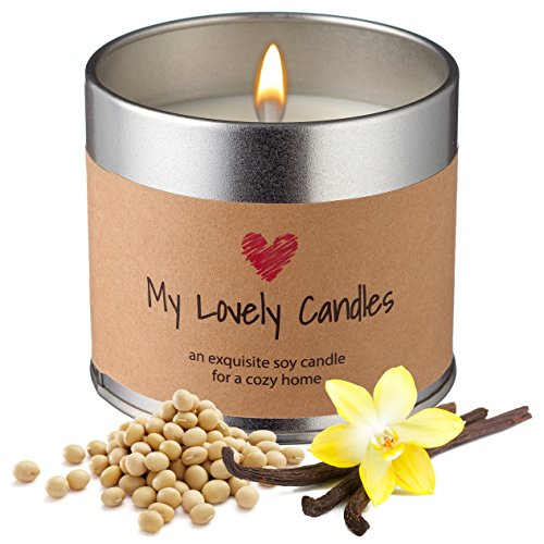 51ao4M6oWhL - Vanilla Scented Soy Candle with 100% Natural White Soy Wax in Metal Candle Holder. Organic Handmade Candle Gift for Women, Men, Girls, Birthdays, Holidays, Romantic Occasions