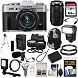 Fujifilm X-T20 Wi-Fi Digital Camera & 15-45mm XC OIS PZ (Silver) & 50-230mm Lens + 64GB Card + Backpack + Battery/Charger + Flash + LED & Mic + Lens Kit