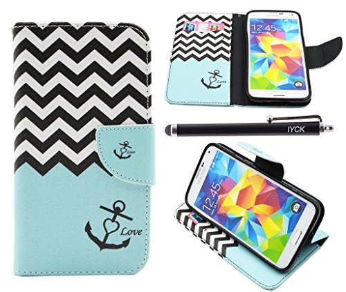 S5 Case, Galaxy S5 Case, iYCK Premium PU Leather Flip Folio Carrying Magnetic Closure Protective Shell Wallet Case Cover for Samsung Galaxy S5 with Kickstand Stand - Wavy Anchor - Kickstand Cover