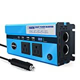 1000W Car Power Inverter DC 12V to AC 110V Converter with 2 Cigarette Lighter Sockets and Digital Display 2 AC Outlets and 4 USB Charging ports for Laptops, Tablets and other Electronics Devices