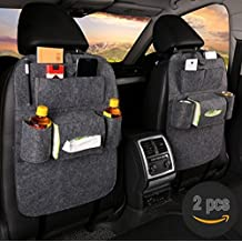 Chang Ning 2 Pack- Back Seat Car Organizer Travel Storage for Kids with Tablet Holder With Kick Mat and Seat Cover