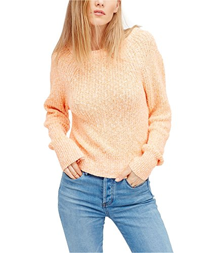 Free People Womens Electric City Knit Long Sleeves Pullover Sweater Orange S