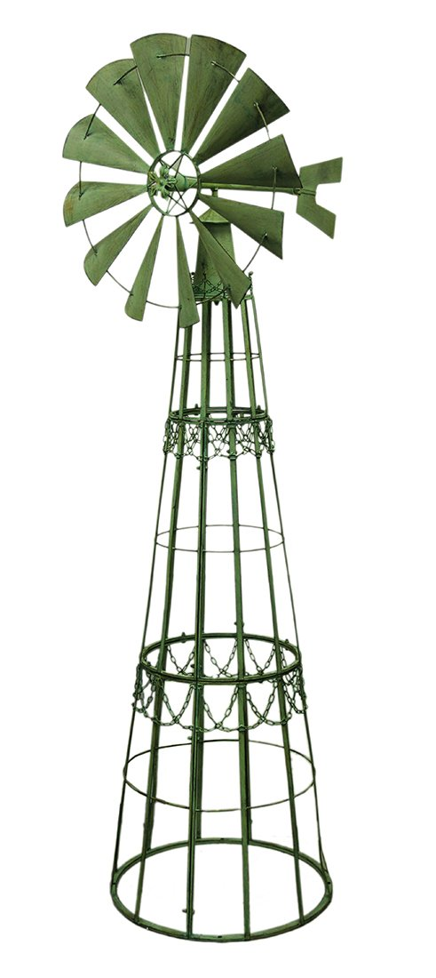 Metal Garden Stakes Green Verdigris Giant Metal Garden Windmill Lawn Ornament 7 Foot 35 X 88 X 27 Inches Green Model # UDXL-175
