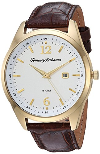 Tommy Bahama Men's Quartz Stainless Steel and Leather Casual Watch, Color:Brown (Model: TB00015-02)