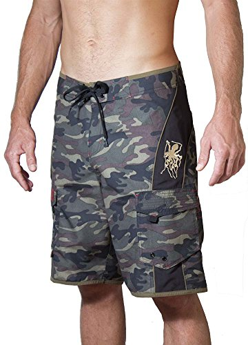 Maui Rippers Men's Camo Board Shorts - The Octopus | Quick Dry Triple Stitch Swim Trunks (34, ()