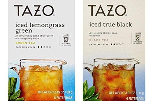 Tazo Iced Tea Pitcher Bag 2 Flavor Variety Bundle; (1) Tazo Iced Lemongrass Green, and (1) Tazo Iced Black Tea, 6-Count Each