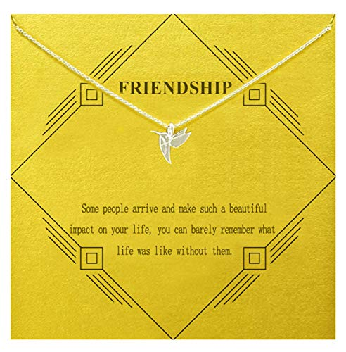 Gray Camel Friendship Hummingbird Necklace with Message Card Gift Card for Women Girls (Sliver Hummingbird)