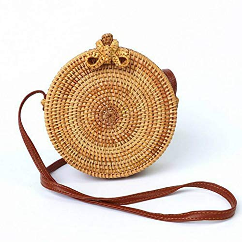 Bali Wicker - Kbinter Handwoven Round Rattan Straw Bag for Women Shoulder Leather Button Straps Natural Chic Handmade Boho Bag Bali Purse (Bow-Tie)