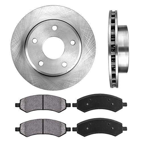 FRONT 312 mm Premium OE 5 Lug [2] Brake Disc Rotors + [4] Metallic Brake Pads (2009 Dodge Dakota Sxt Crew Cab 4wd)