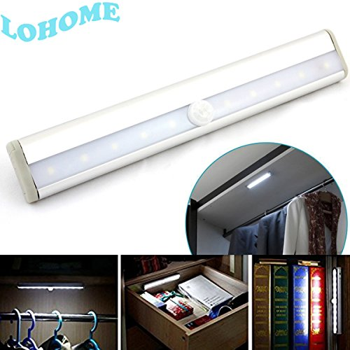 LOHOME Motion Sensor Closet Lights, Wireless PIR Shaking Sensor 10 LED Light Wardrobe Infrared Induction Lamp Motion Sensor Night Light Closet Cabinet Light Lamp Stairs/Step Light