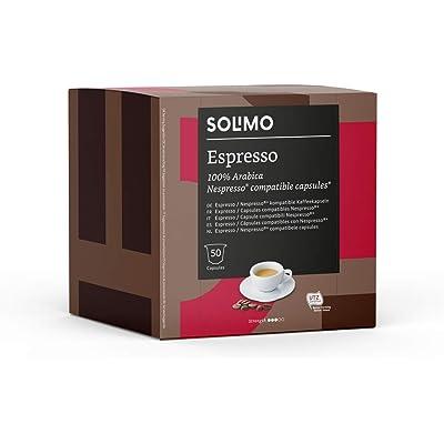Marca Amazon - Solimo Cápsulas Espresso, compatibles con Nespresso* - café certificado UTZ, 100 cápsulas (2 x 50)