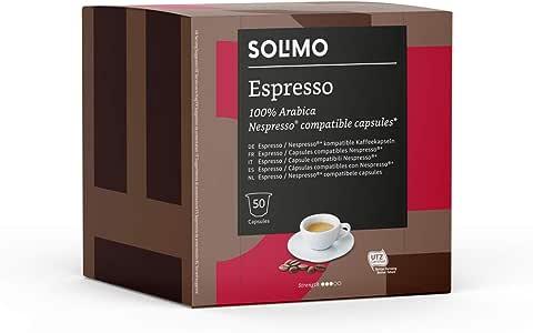 Marca Amazon - Solimo Cápsulas Espresso, compatibles con Nespresso* - 100 cápsulas (2 x 50)
