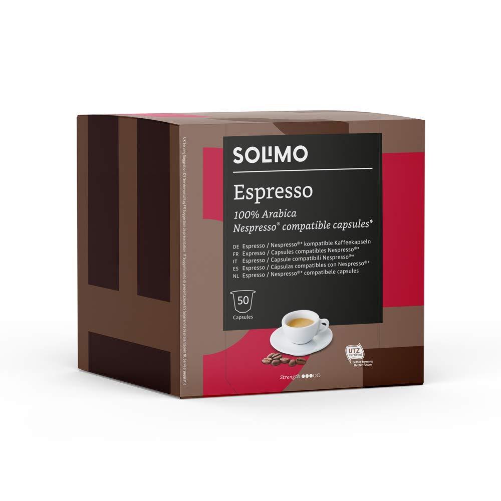 Amazon Brand - Solimo Nespresso Compatible Espresso Capsules - UTZ Certified - 100 Capsules (2 Packs x 50)