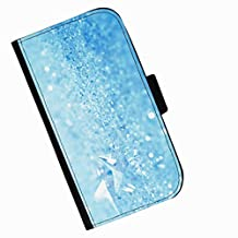 Hairyworm - Glass crystals on pale blue background HTC Desire 626 leather side flip wallet cell phone case, cover with card slots, money slot and magnetic clasp to close.