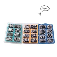 Teenitor 24 Pack Wire Puzzles,IQ Toys Brain Teaser Metal Wire Puzzles IQ Test Mind Game Toys Gift for Kids and Adults