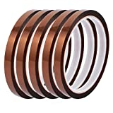 uxcell 5Pcs 8mm Width 33M Length High Temp Heat Resistant Polyimide Tape Brown