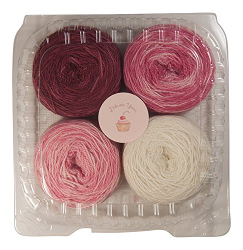 Delicious Yarns Frosting Fingering Weight Quad Cake Gradient Yarn Set (Burgundy)
