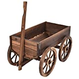 Wagon Flower Wood Planter Pot Stand With Wheels Home Garden Outdoor