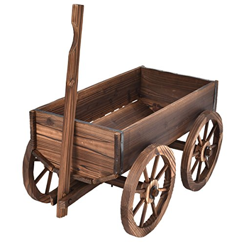 Wagon Flower Wood Planter Pot Stand With Wheels Home Garden Outdoor by White Bear & Brown Rabbit