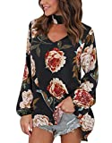 BBYES Women's Floral Print Long Sleeve Loose Tops Choker V Neck Blouse Shirt