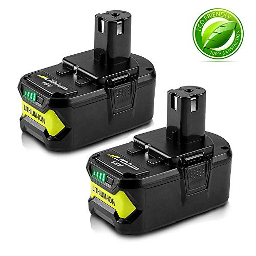 18V 4000mAh High Capacity Replacement Battery for Ryobi P104 P105 P102 P103 P107 P109 P108 P100 Lithium-ion Cordless Tools Battery (2 Packs)