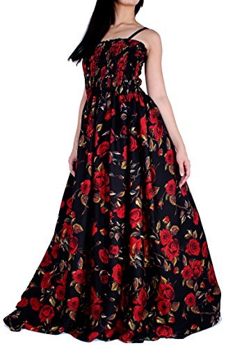 MayriDress Maxi Dress Plus Size Clothing Black Ball Gala Party Sundress Designer (X-Large, Black/Red Rose)