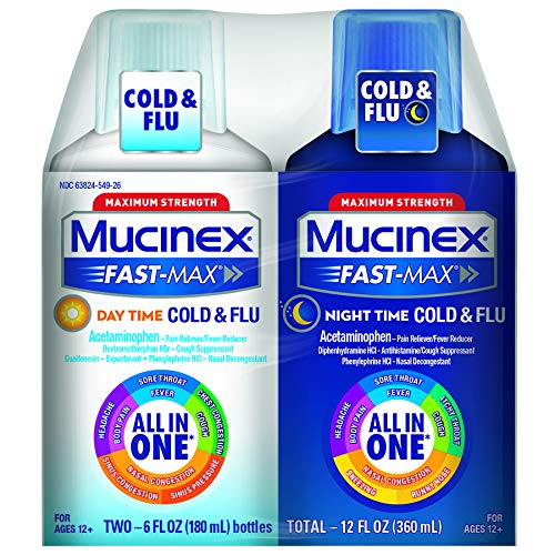 - Mucinex Fast-Max Double Pack Day Time Severe Cold Plus Night Time Cold and Flu, 12 Ounce