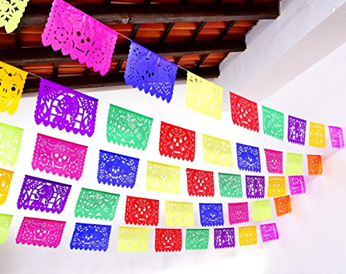 5 Pack Day of The Dead Banners Party Decorations, Dia de Muertos 60 feet Long Party Supplies Papel Picado Banner Paper WS200 ()