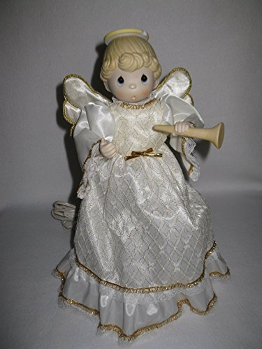 Musical Porcelain - Precious Moments Porcelain Bisque Musical Animated Angel Tree Topper