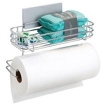 mDesign Portarrollos de papel de cocina de pared – Práctico soporte para  papel de cocina con ee8645353e6a