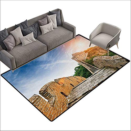 (Floor mat Pattern Great Wall of China Legendary Dynasty Monument on Cliffs Historical Countryside Art Design W79 xL118 Suitable for Bedroom, Living Room, Games Room, Foyer or Dining Room)