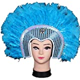 Sweenaly Halloween Indian feather mask Indian savage feather headdress (BLUE)