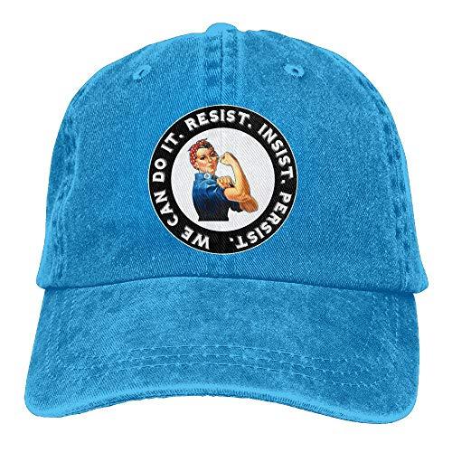- Rosie The Riveter Resist Insist Persist Denim Dad Cap Baseball Hat Adjustable Sun Cap